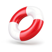 Blank Swim Ring Isolated On White, 3d Rendering. Summer Inflatable Lifebuoy - Round Swimming Ring. 3d Rendering