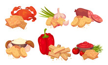 Croutons With Various Flavours Arranged With Products Like Bell Pepper And Garlic Vector Set