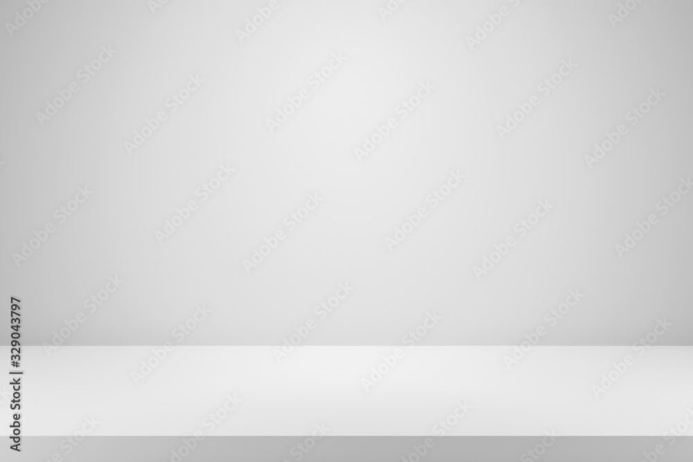 Fototapeta Blank white gradient background with product display. White backdrop or empty studio with room floor. 3D rendering.