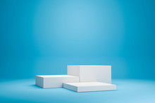 White Podium Shelf Or Empty Studio Display On Vivid Blue Summer Background With Minimal Style. Blank Stand For Showing Product. 3D Rendering.