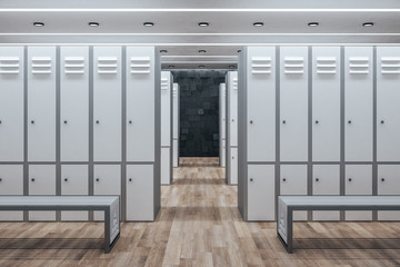 Minimalistic white locker room interior