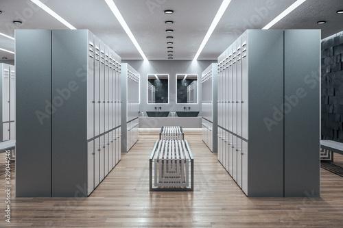 Fototapeta Side view of new locker room interior. obraz