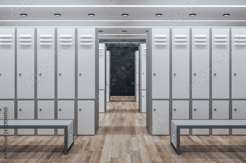 obraz dibond Minimalistic white locker room interior