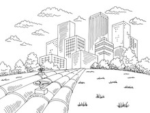 City Pipes Graphic Black White...