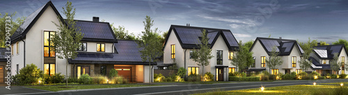 Fototapeta Modern beautiful houses with solar panels on the roof obraz