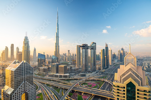 Sunrise view over Dubai Downtown skyline Wallpaper Mural