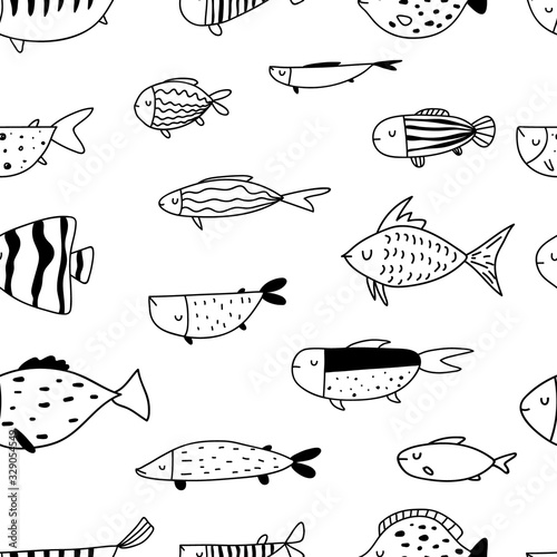 Vector seamless repeating black and white hand-drawn linear ink doodle kids pattern with different fishes in scandinavian style on a white background. Pattern with doodles of fish. Underwater,aquarium