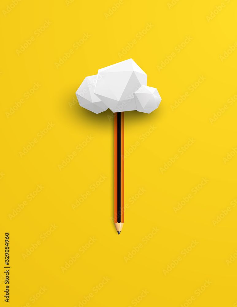 Fototapeta Creativity vector concept with realistic pencil and cloud. Symbol of innovation, creative thinking, brainstorming.