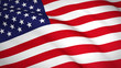 Waving USA (United States) national flag - Realistic 3D render.