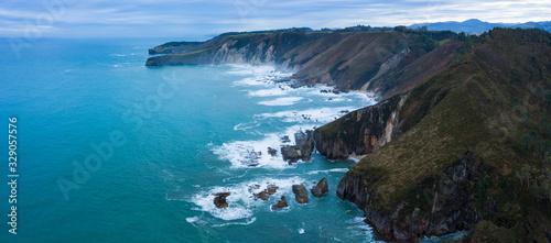 Aerial view of the coast around La Franca beach, Coastal landscape, Cantabrian Sea, Ribadedeva, Asturias, Spain, Europe