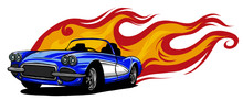 Vector Muscle Car With Flames ...