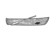 Broken Wooden Boat Sketch Engr...