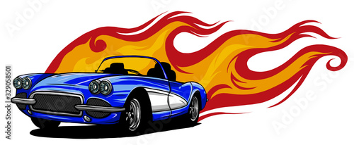 Fototapeta vector muscle car with flames Crazy race obraz