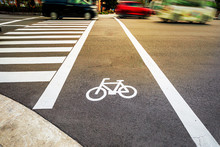 Bike Lane With White Bicycle ...
