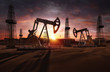 canvas print picture - Saudi price war, oil market prices drop concept. Oil pumps, drilling derricks from oil field silhouette at sunset. Crude oil industry, petroleum production 3D background with pump jacks, drill rigs