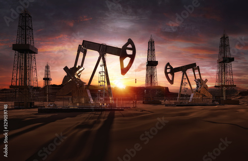 Fototapeta Saudi price war, oil market prices drop concept. Oil pumps, drilling derricks from oil field silhouette at sunset. Crude oil industry, petroleum production 3D background with pump jacks, drill rigs obraz