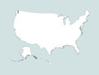 Vector illustration of the White Outline Map of the United States of America (Gray Background)