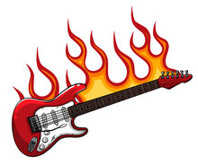Vector Illustration Of Red Bass Guitar In Flames