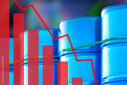 Fototapeta A falling chart on the background of blue barrels. Blue barrels as a symbol of storing oil products. Lower fuel prices. Concept - oil is getting cheaper. Surplus. High level of oil production obraz
