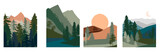 Fototapeta  - Set of abstract landscape. Forest animals, hills of coniferous wood with mountains range, lake, river, desert silhouette template. Editable vector illustration.