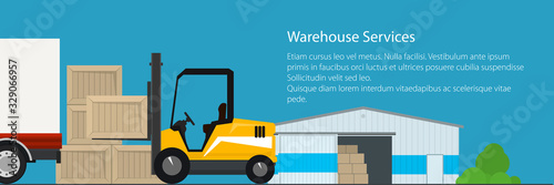 Obraz Banner of warehouse services , warehouse with forklift truck on the background of the city, transportation and cargo services and storage, vector illustration - fototapety do salonu