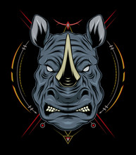 Rhino Vector Logo Design Mascot With Modern Illustration Concept Style For Badge, Emblem And T Shirt Printing. Angry Rhinos Illustration.A
