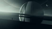 Futuristic Surreal Landscape, Abstract Dome Building In Science Fiction Setting With Planets In The Sky, 3d Illustration