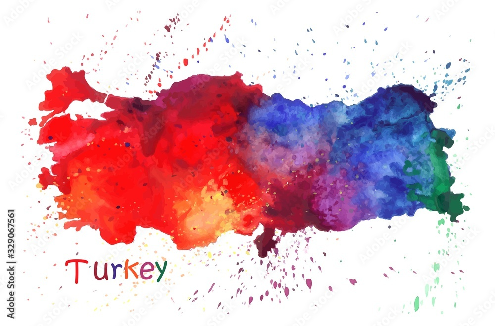 Watercolor map of Turkey. Stylized image with spots and splashes of paint
