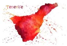 Watercolor Map Of Tenerife. St...
