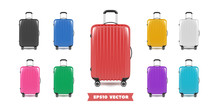 Travel Bag Luggage Realistic Collection. Vector Illustration.