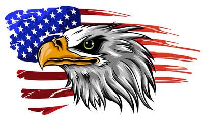 američki ćelavi orao ilustracijski vektor protiv zastave