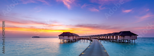 Fototapeta Amazing sunset panorama at Maldives
