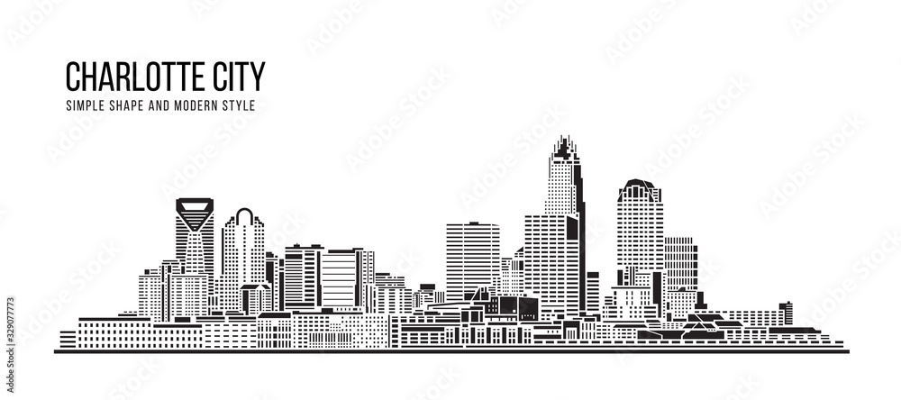 Fototapeta Cityscape Building Abstract Simple shape and modern style art Vector design - Charlotte city