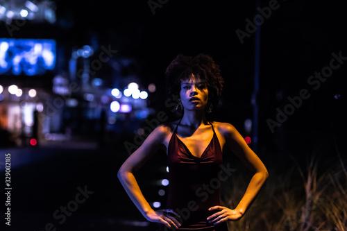 Obraz na plátne Stylish african american woman in night city