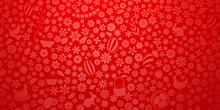 Background Of Small Flowers And Eggs, Cake, Hare, Hen, Chicken And Other Easter Symbols In Red Colors