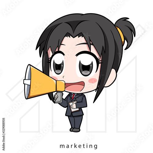 Chibi marketing, girl with megaphone, business girl, Vector illustration Cartoon Wallpaper Mural
