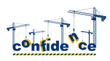 Construction Cranes Builds Confidence Word Vector Concept Design, Conceptual Illustration With Lettering Allegory In Progress Development, Stylish Metaphor Of Psychology.