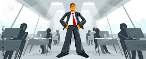 Obraz na plátně Big boss director stands in center of office with employees confident serious and angry vector illustration, bad boss despot and tyrant concept, manager in control of work process