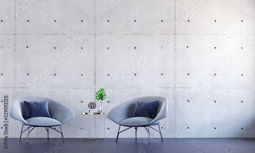 The interior design of loft living room and lounge space hall area and concrete Wallpaper Mural