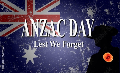 Photo anzac day lest we forget vector illustration