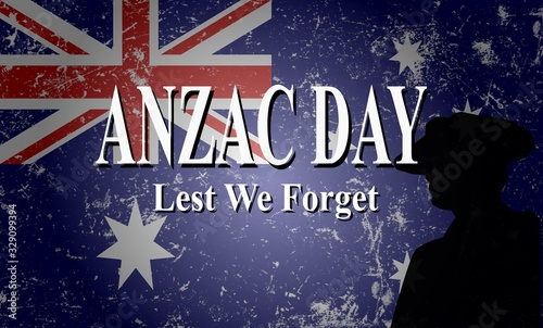 anzac day lest we forget vector illustration Canvas Print