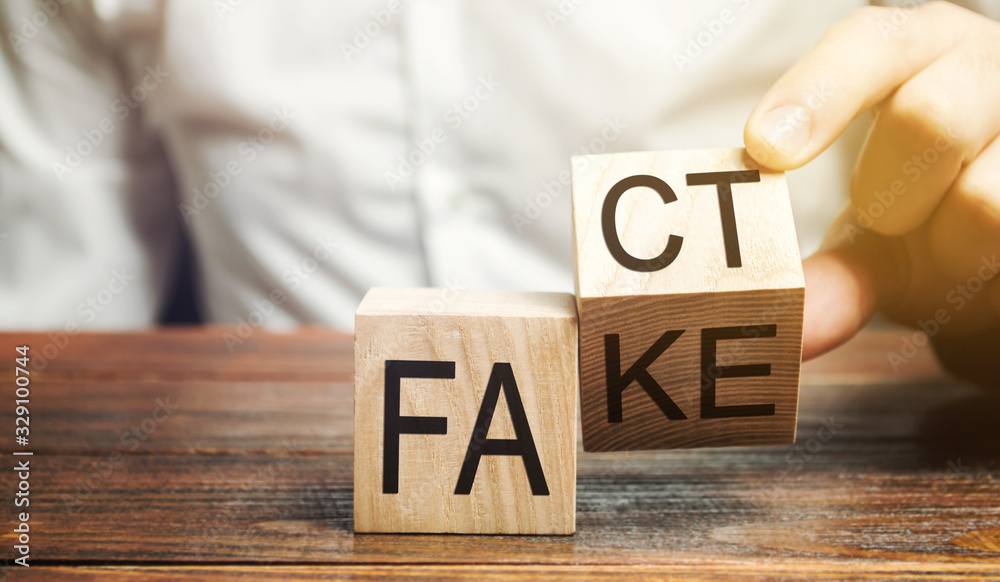 Fototapeta A man puts wooden blocks with the words Fact and fake. Concept of news and false information. Yellow press.