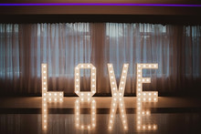 Wooden Glowing Love Text Lette...