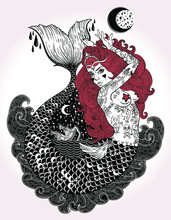 Outstanding Hand-draw Work Of A Tattoed-body Mermaid In New Old School Style. Template For Invitation, Scrap Booking, Print For T-shirt, Tattoo Art, Postcard, Coloring Books. Vector Illustration.