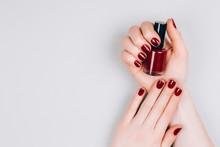 Beautiful Dark Red Manicure Wi...