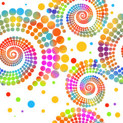The seamless background is a multicolored spiral of dots. Mixed media. Vector illustration