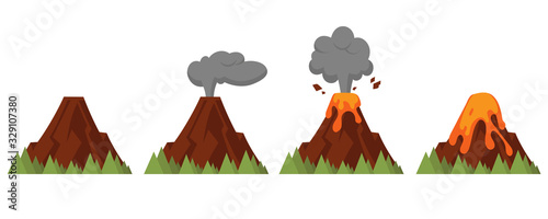 Photo Vector set of volcanoes of varying degrees of eruption
