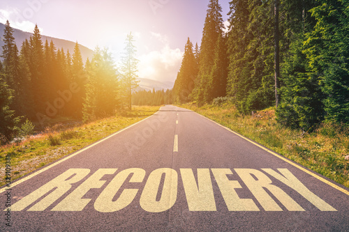 Recovery word written on road in the mountains Canvas