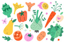 Cute Vegetables And Fruit Collection, Cabbage, Pepper, Pear And Tomato Isolated On White Background, Wholesome Veggie Food, Modern Flat Hand Drawn Vector Illustrations