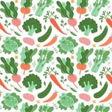 Vegetables Pattern, Doodle Veg...